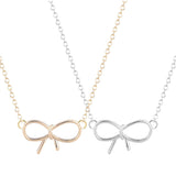 18K Gold Plated Choice of 2 Classic or White Gold Finish Bow Tie Infinity Pendants w/ Chain