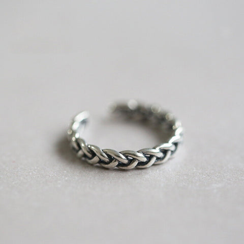 Sterling Silver Simplistic Threaded Twist Design Adjustable Band Ring