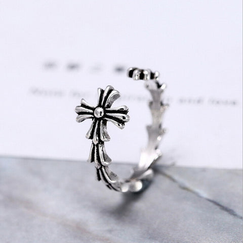 Sterling Silver Unique Open Cross Adjustable Band Ring