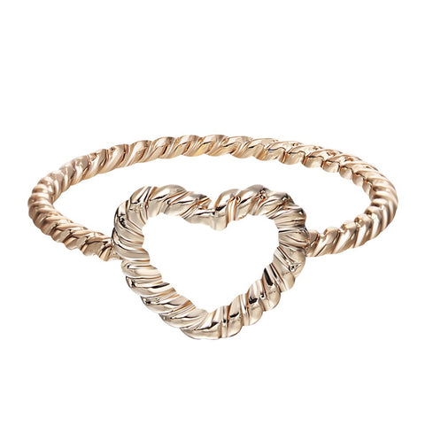 18K Gold Plated Braided Heart Design Ring Sz 7