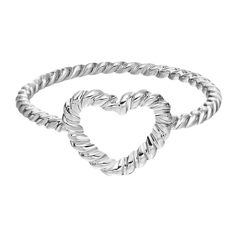 18K Gold Plated White Gold Finish Braided Heart Design Ring Sz 7