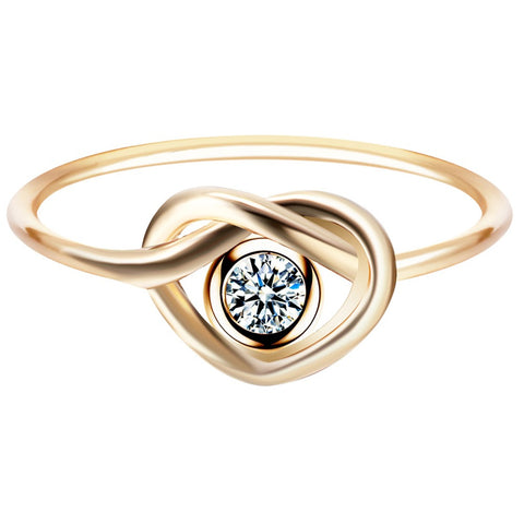 18K Gold Plated Cute Love Knot CZ Ring Sz 7
