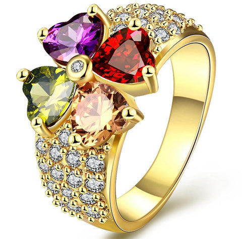 18K Gold Plated Multi Color Heart Cut CZ Ring Sz 7-8