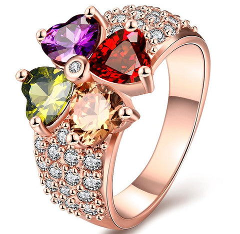 18K Gold Plated Rose Gold Finish Multi Color Heart Cut CZ Ring Sz 7-8
