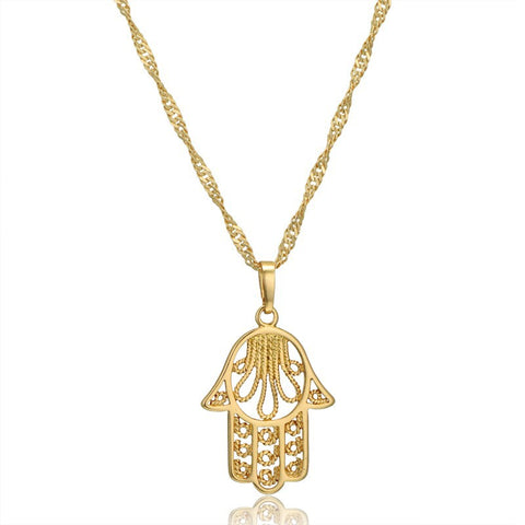Stainless Steel Stunning Hands of Hamsa Gold Filled Pendant w/ Chain