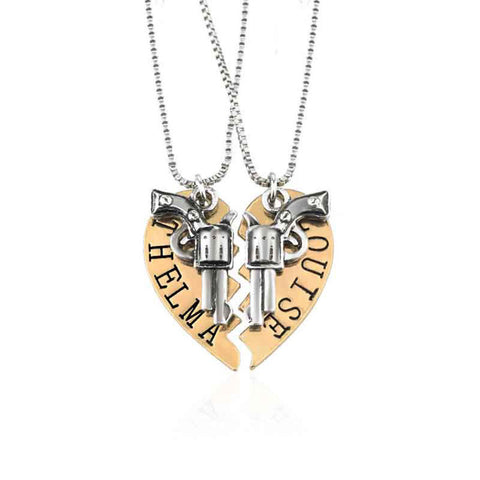 18K Gold Plated White & Gold Finish Thelma & Louise Broken Heart Pendant w/ Chain