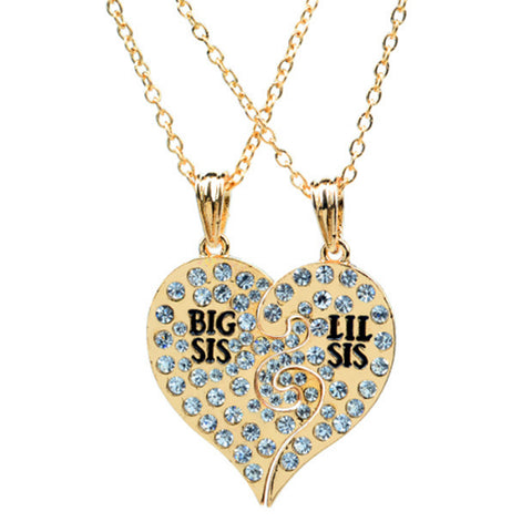 18K Gold Plated Big Sis / Lil Sis Pendants w/ Chains