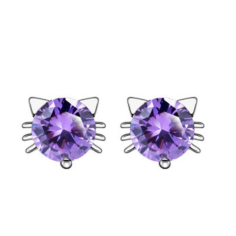 18K Gold Plated White Gold Finish Cute Amethyst CZ Cat Stud Earrings