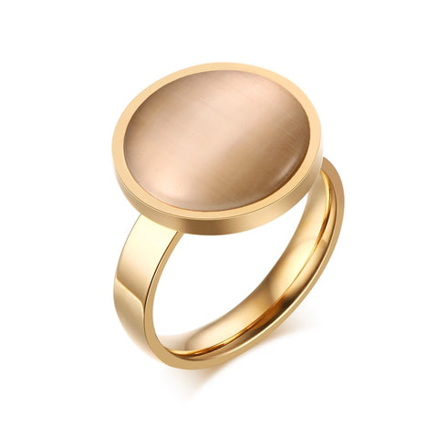 Stainless Steel Gold Tone Finish Round Light Brown Opal Ring Sz 6-8