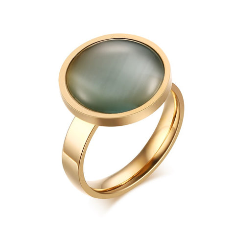 Stainless Steel Gold Tone Finish Round Basil Opal Ring Sz 6-8