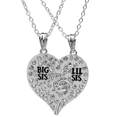 18K Gold Plated White Gold Finish Big Sis / Lil Sis Pendants w/ Chains