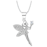 18k Gold Plated White Gold Finish Fairy CZ Pendant w/ Chain