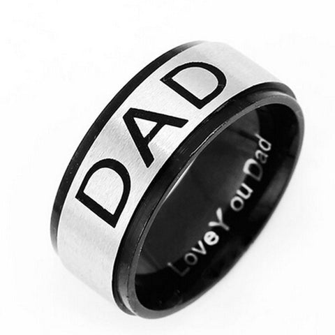 Stainless Steel Black Finish DAD Band Ring Sz 7-12
