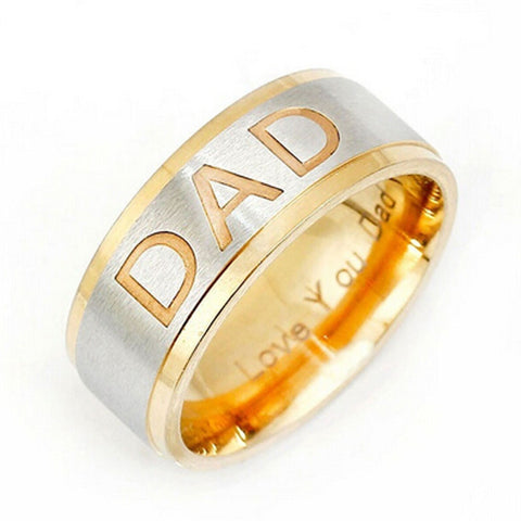 Stainless Steel Gold Finish DAD Band Ring Sz 7-12