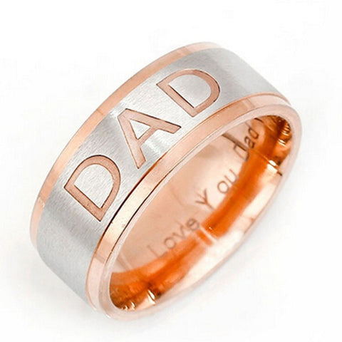 Stainless Steel Rose Gold Finish DAD Band Ring Sz 7-12