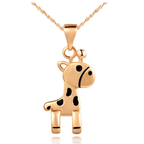 18K Gold Plated Rose Gold Finish High Quality Giraffe Pendant w/ Chain