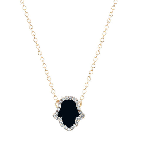 18K Gold Plated Hands of Hamsa Black Onyx Pendant w/ Chain
