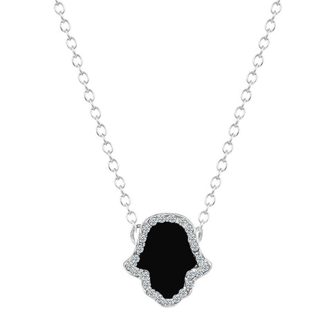 18K Gold Plated White Gold Finish Hands of Hamsa Black Onyx Pendant w/ Chain