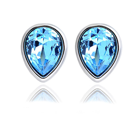 Sterling Silver Classic Tear Drop Design Blue Topaz Stud Earrings