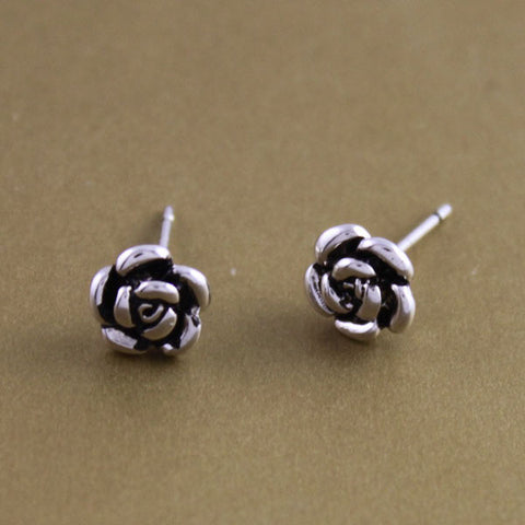 Sterling Silver Cute Flower Design Stud Earrings