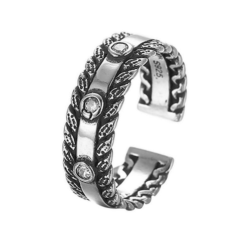 Sterling Silver Stunning Tattoo Design Open Form CZ Adjustable Ring