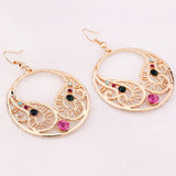 18k Gold Plated Exotic Round CZ Crystal French Hook Earrings