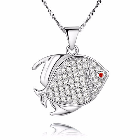 18K Gold Plated White Gold Finish Red Eyed CZ Fish Pendant w/ Chain