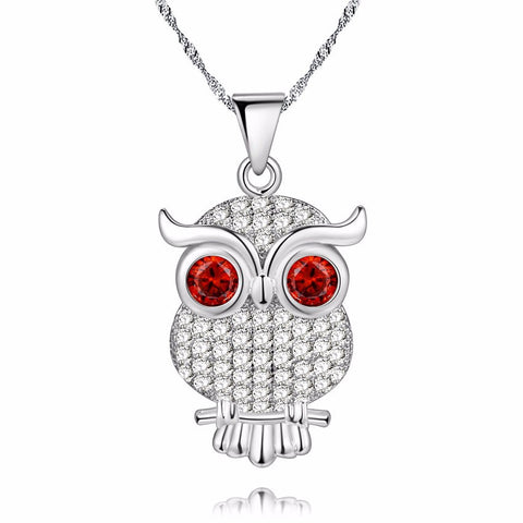 18K Gold Plated White Gold Finish Cute Red Eyed Owl CZ Pendant w/ Chain