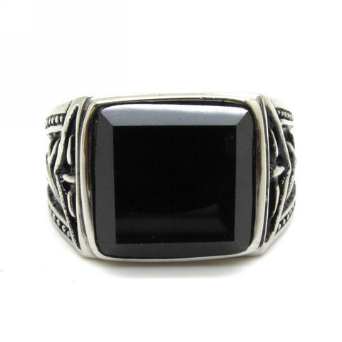 Stainless Steel Top Quality Black Onyx Class Style Ring Sz 8