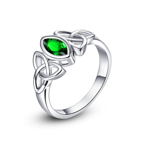 18K Gold Plated White Gold Finish Celtic Design Emerald Ring Sz 6-10