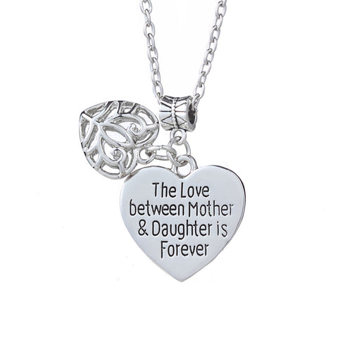 18K Gold Plated White Gold Finish Mother & Daughter Heart Pendant w/ Chain