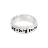 "18k Gold Plated White Gold Finish Simple ""My Story ins't Over"" Ring Sz 5-10"
