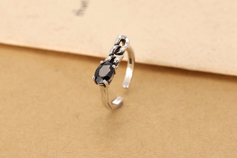 Sterling Silver Unique Oval Black CZ Adjustable Ring