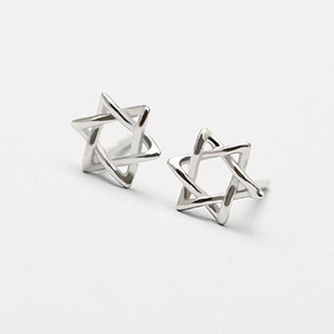 Sterling Silver Cute Star of David Stud Earrings