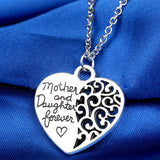 "18K Gold Plated White Gold Finish ""Mother and Daughter Forever"" Pendant w/ Chain"