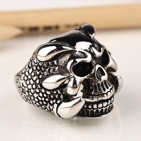 18K Gold Plated White Gold Finish Unique Gothic Skull Ring Sz 8-10