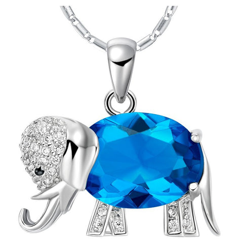 Sterling Silver Cute Blue Topaz Design Elephant Pendant w/ Chain