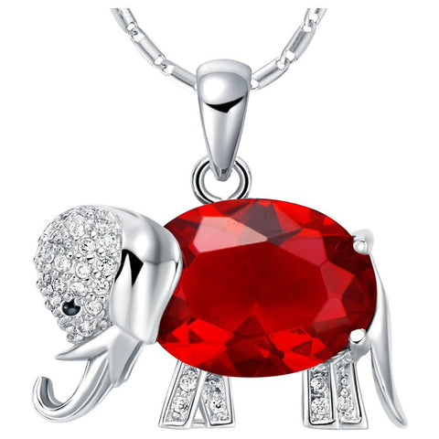 Sterling Silver Cute Ruby Red Design Elephant Pendant w/ Chain