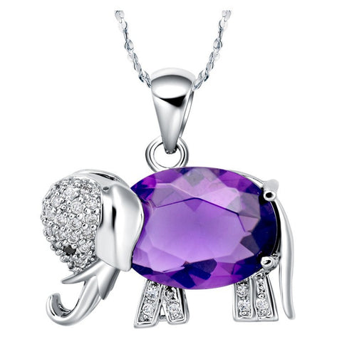 Sterling Silver Cute Amethyst Design Elephant Pendant w/ Chain