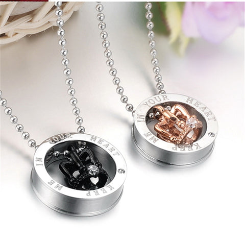 Stainless Steel Crystal Crown Design Circle Pendant w/ Chain