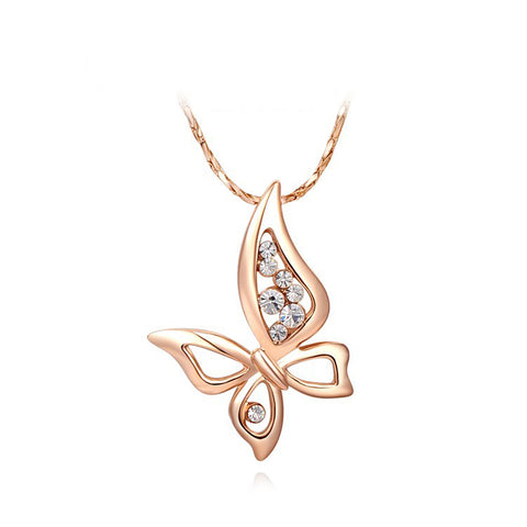 18K Gold Plated Rose Gold Finish Butterfly CZ Pendant w/ Chain