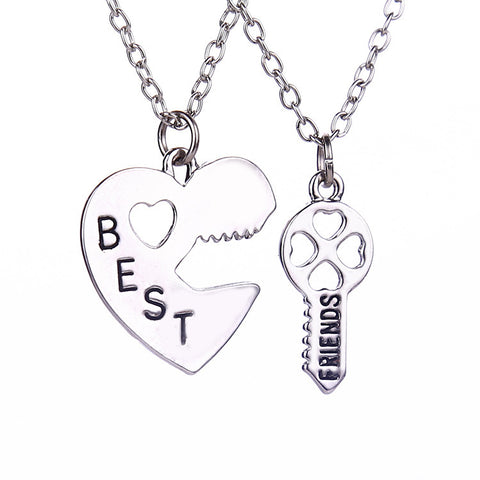 18k Gold Plated White Gold Finish Best Friends Heart & Key Pendant w/ Chains
