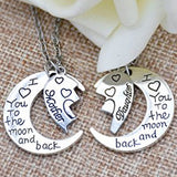 18K Gold Plated White Gold Finish I love you to the Moon & Back Heart Pendant w/ Chain