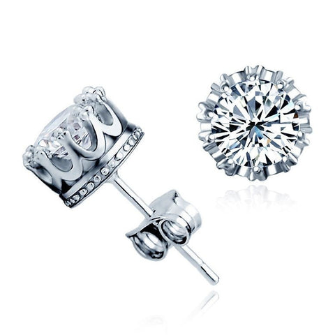 Sterling Silver Classic Crown Style CZ Stud Earrings