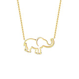 Stainless Steel Unique Cut Out Design Elephant Pendant w/ Chain Gold or Silver