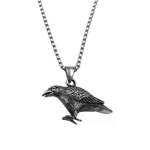 Stainless Steel Unique Raven Design Pendant w/ Chain