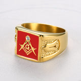 Stainless Steel Gold Filled Red Enamel Red House Mason Ring Sz 8-15