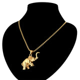 Stainless Steel Classic Elephant Design Pendant w/ Chain