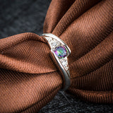 18K Gold Plated White Gold Finish Rainbow Topaz Ring Sz 6-10