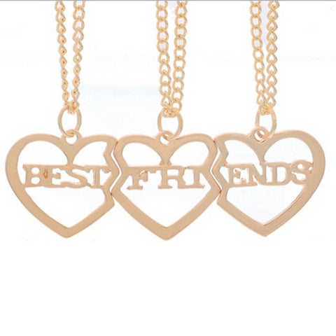 18K Gold Plated Rose Gold Finish Best Friends Heart Pendants w// Chains
